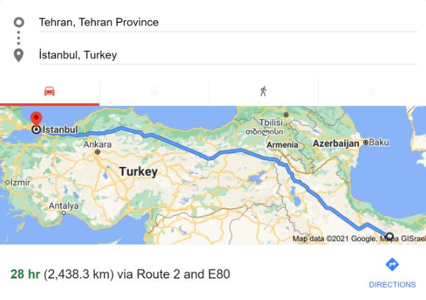 فاصله تهران تا استانبول با ماشین شخصی